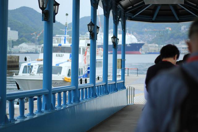 Lineup to Gunkanjima Concierge Company tour to Hashima Island