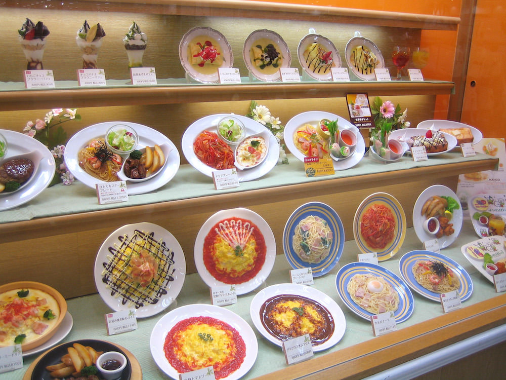 Fake food dishes in a restaurant in Japan