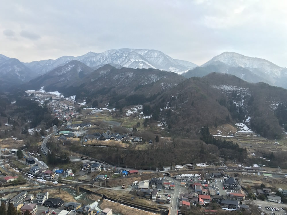 The view from Godaido Hall. I went there in March so still, some snow left in the town.