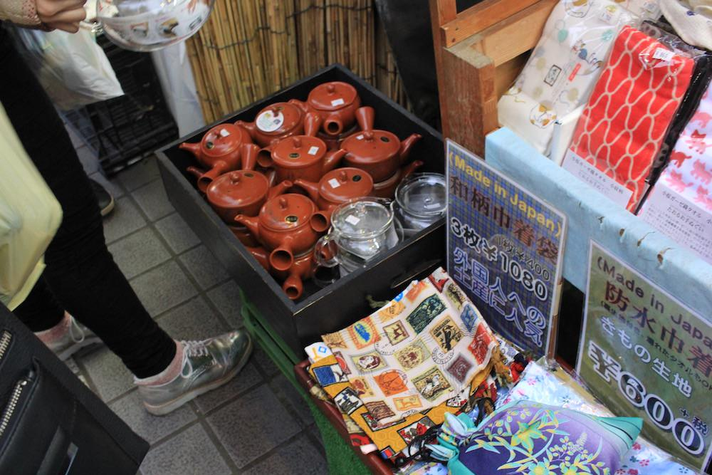 Many shops selling Japanese crafts in Yanaka Ginza Shopping Street