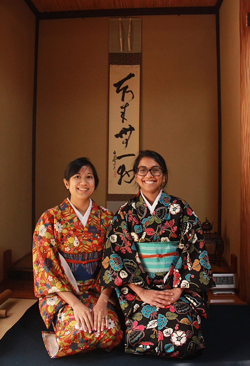 Photo in front of Tokonoma, a recessed alcove.