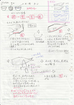 His notebook when he was studying at Tokyo Sushi Academy. Can you see his hard work?