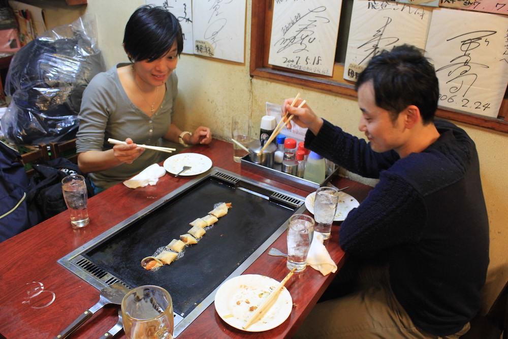 Enjoying red bean paste and apricot crepe (Anko-Maki)