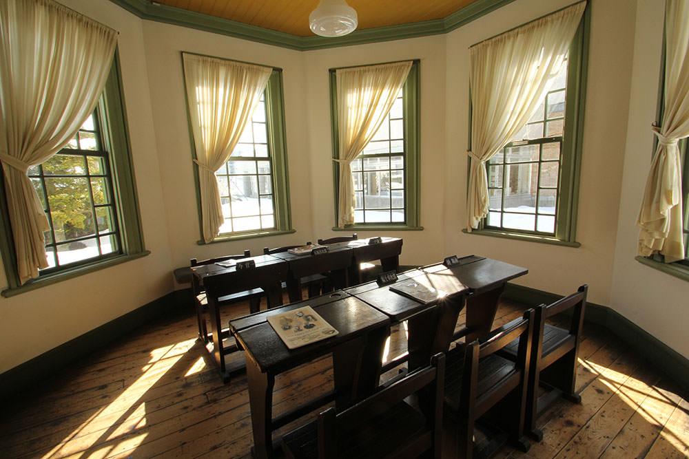 Old desks inside Former Hirosaki City Library
