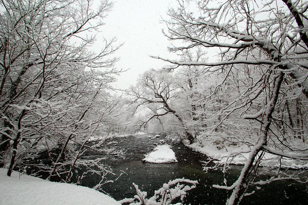 Shimeikei looks very beautiful with snow on rocks.