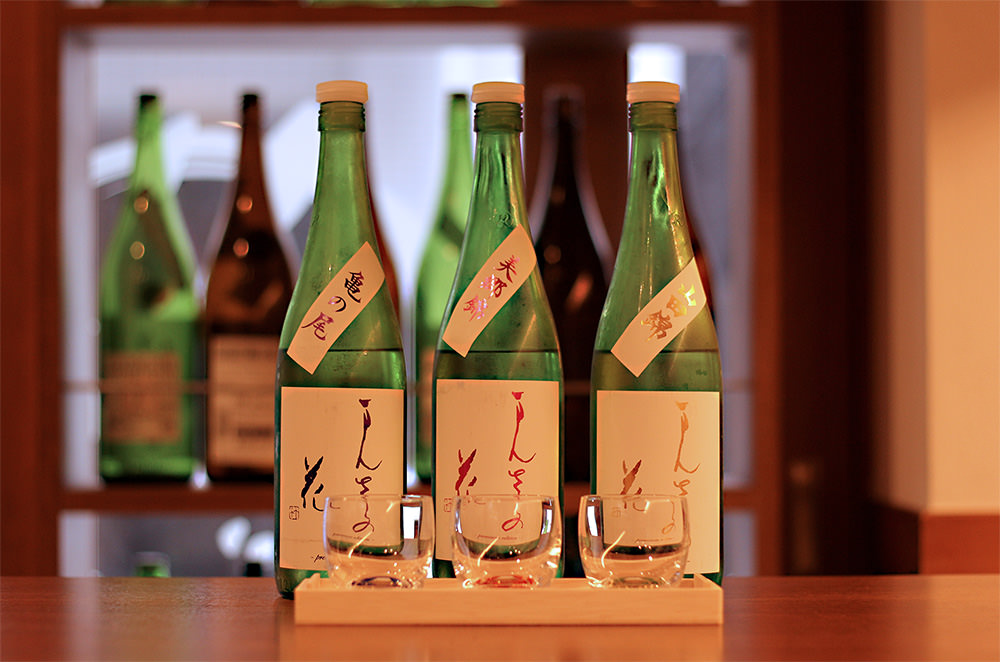 "Ieji offers ""sake tasting set"". The labels may differ depending on the day."
