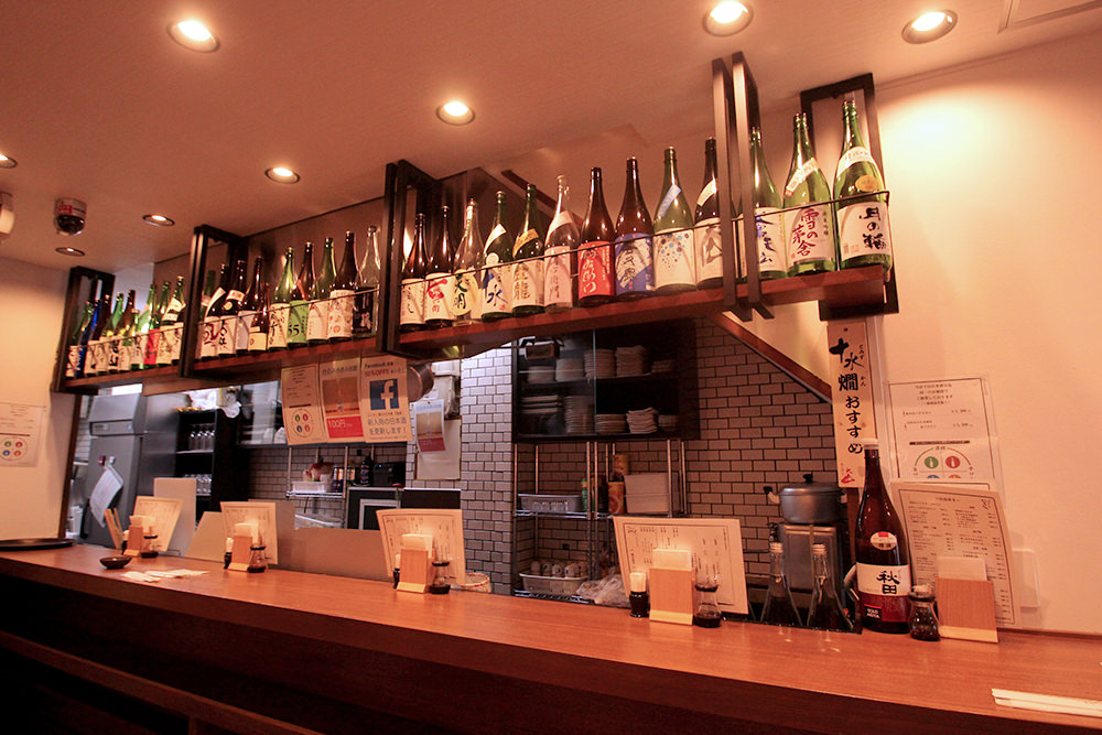 Over 30 kinds of sake are available at Ieji.