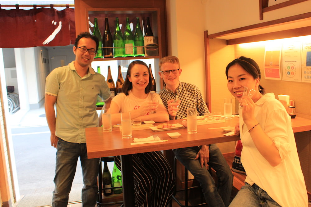 """After the first """"Kanpai""""! Jay and Sarah ordered sake tasting set, and I had a small glass."""