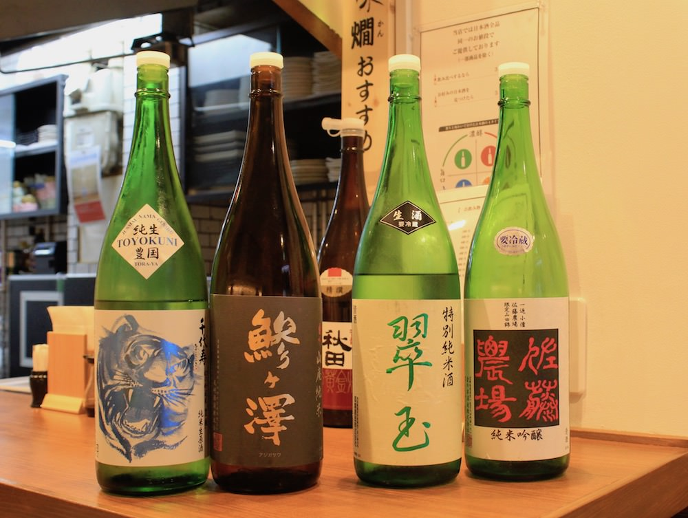 "The sake bottles recommended by the manager. Most of them are ""fresh (nama)"" sake which means requires severe temperature management and rarely exported to abroad."