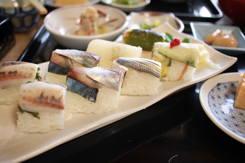 Beautiful Oshi-sushi (pressed sushi) from Sakai