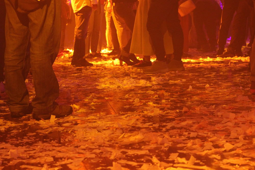 Thousands of confetti, must be an icon of FUERZA BRUTA WA!, piled up on the floor in the end!