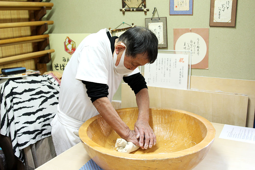 Mr. Ito Sensei shows how to knead the soba dough