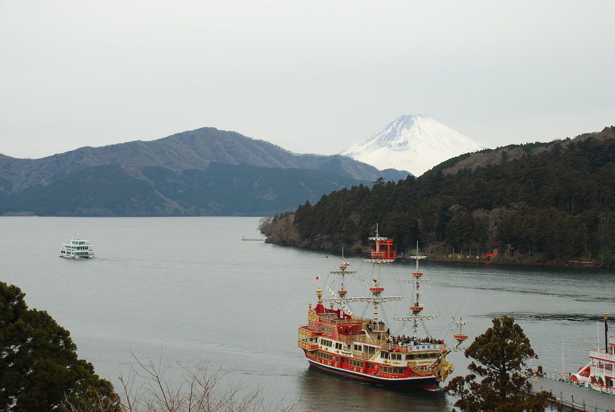 Lake Ashi in Hakone is a great place to see Mt. Fuji